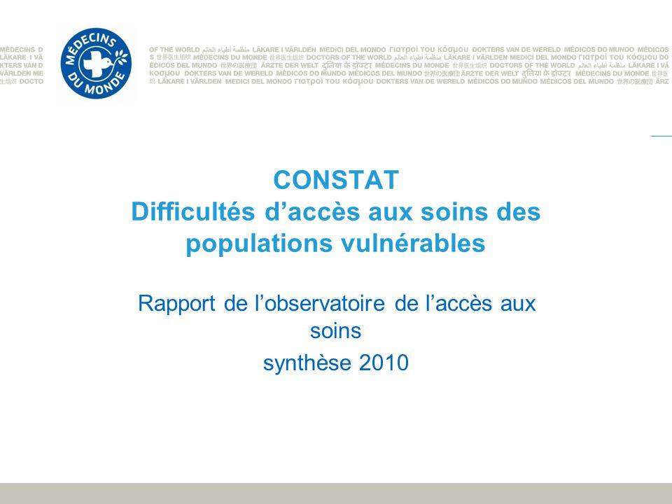 CONSTAT Difficultés d'accès aux soins des populations vulnérables