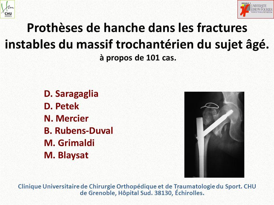 Prothèses de hanche dans les fractures instables du massif trochantérien du sujet âgé. à propos de 101 cas.