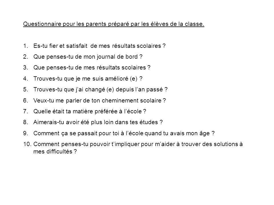 Questionnaire pour les parents préparé par les élèves de la classe.