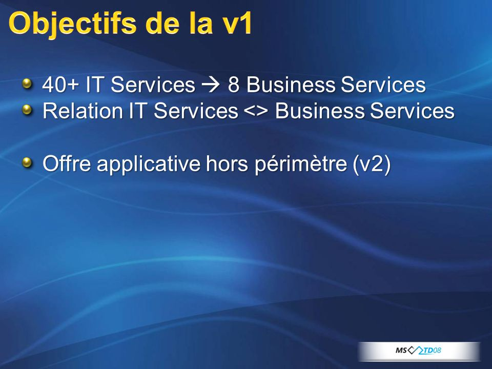 Objectifs de la v1 40+ IT Services  8 Business Services