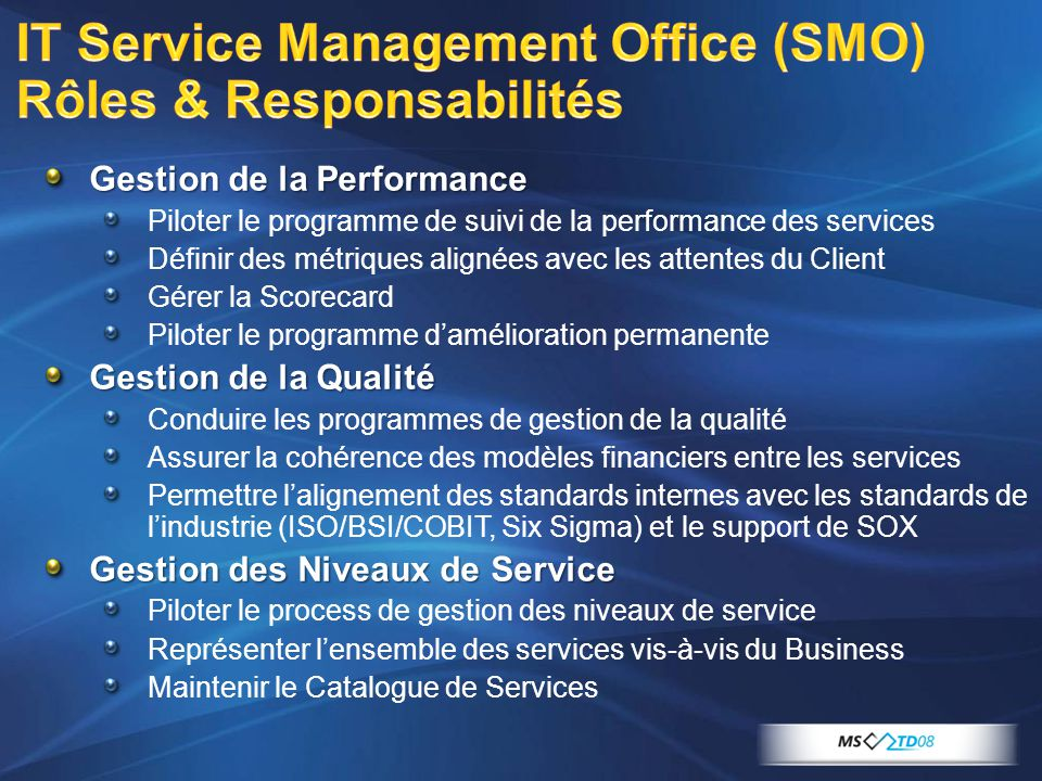 IT Service Management Office (SMO) Rôles & Responsabilités