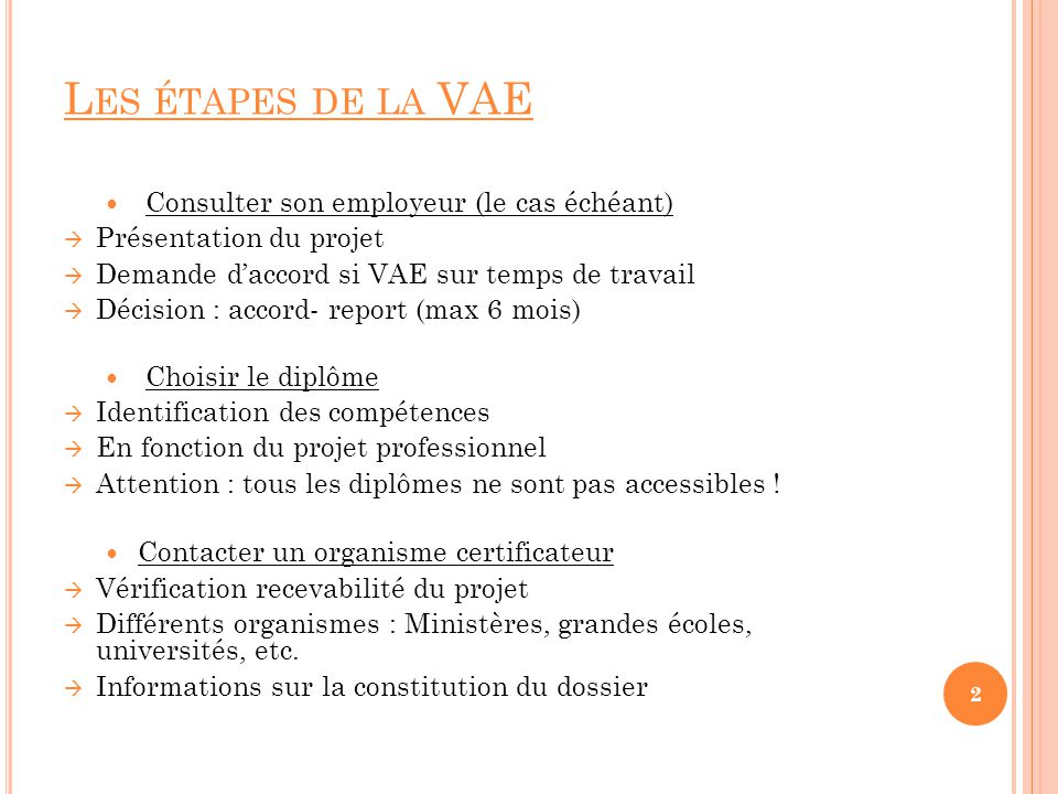 Les étapes de la VAE Consulter son employeur (le cas échéant)