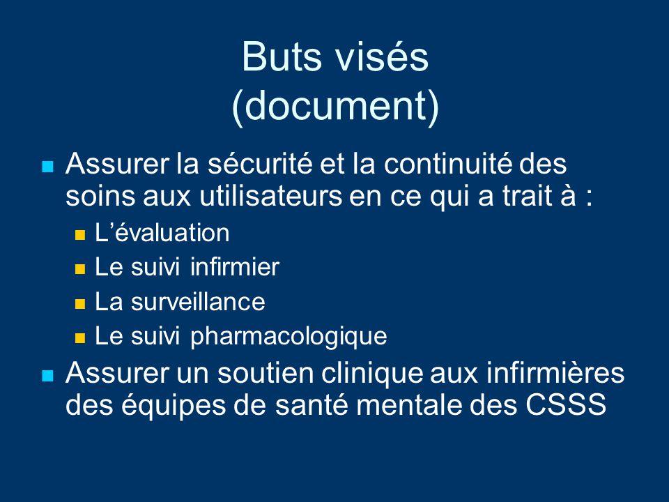 Buts visés (document) Assurer la sécurité et la continuité des soins aux utilisateurs en ce qui a trait à :