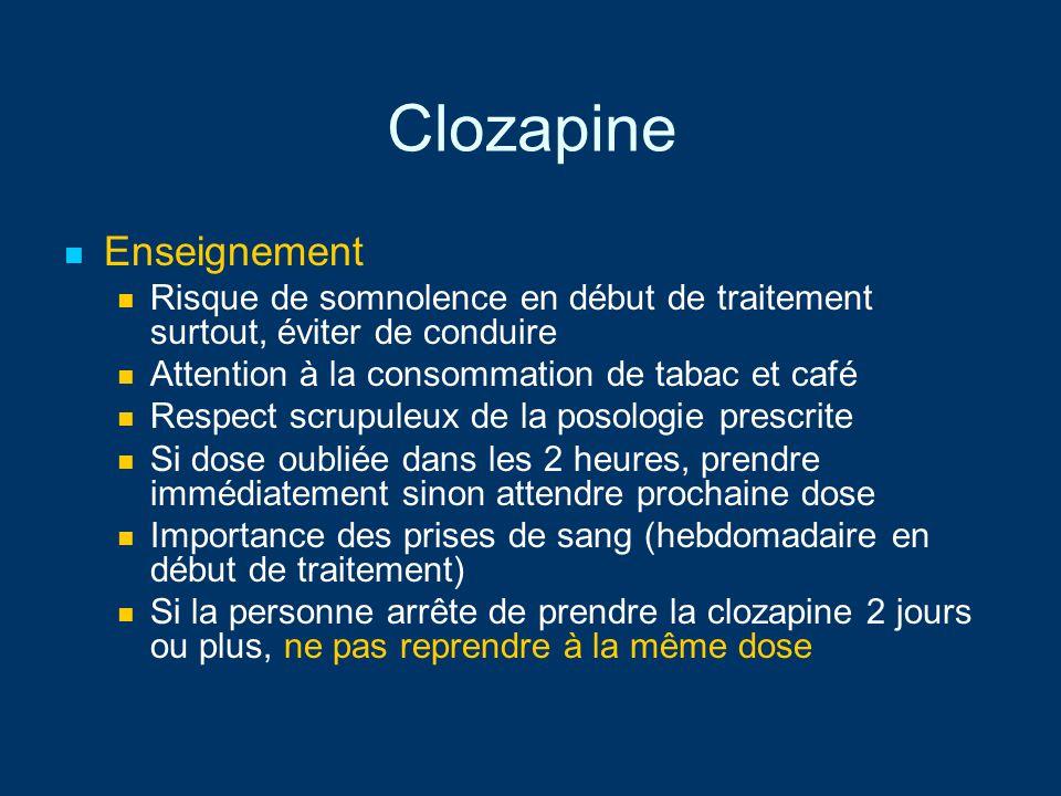Clozapine Enseignement