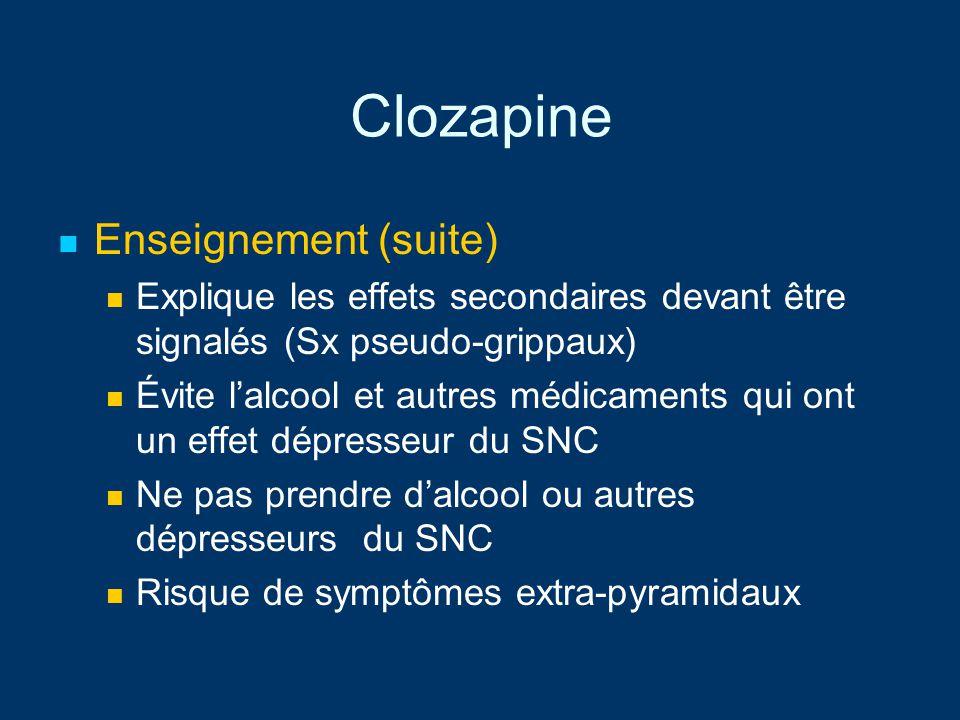 Clozapine Enseignement (suite)