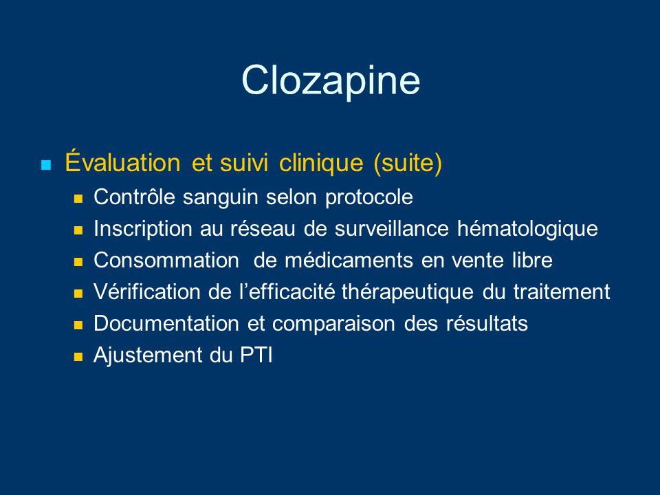 Clozapine Évaluation et suivi clinique (suite)