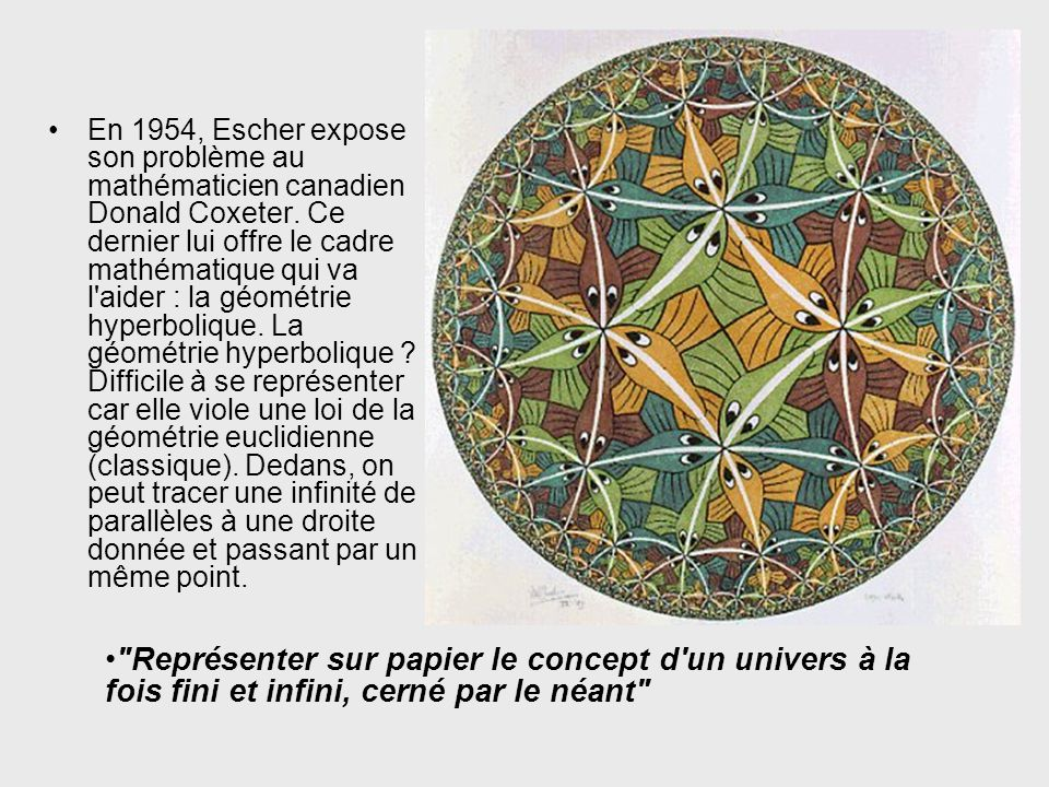 En 1954, Escher expose son problème au mathématicien canadien Donald Coxeter. Ce dernier lui offre le cadre mathématique qui va l aider : la géométrie hyperbolique. La géométrie hyperbolique Difficile à se représenter car elle viole une loi de la géométrie euclidienne (classique). Dedans, on peut tracer une infinité de parallèles à une droite donnée et passant par un même point.
