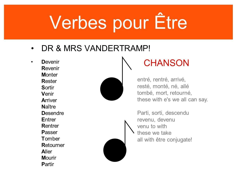 Verbes pour Être CHANSON DR & MRS VANDERTRAMP! entré, rentré, arrivé,