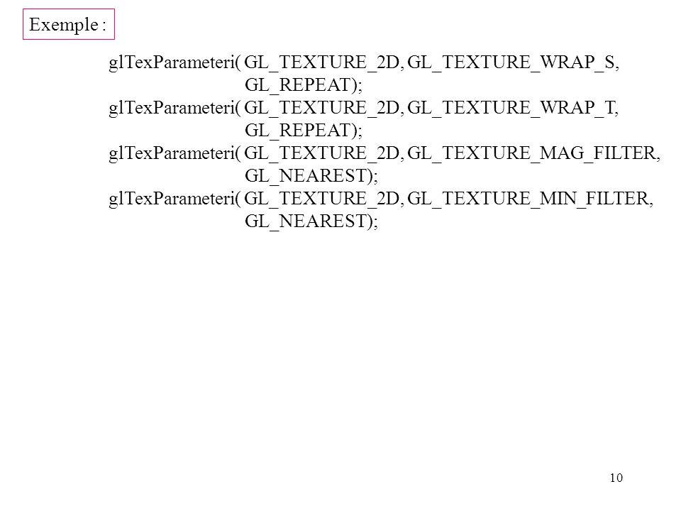 Exemple : glTexParameteri( GL_TEXTURE_2D, GL_TEXTURE_WRAP_S, GL_REPEAT); glTexParameteri( GL_TEXTURE_2D, GL_TEXTURE_WRAP_T,