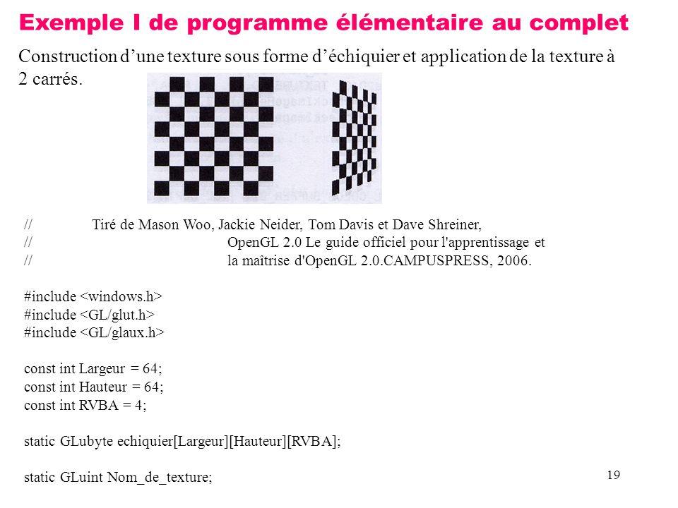 Exemple I de programme élémentaire au complet