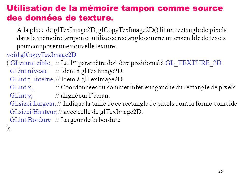 Utilisation de la mémoire tampon comme source des données de texture.