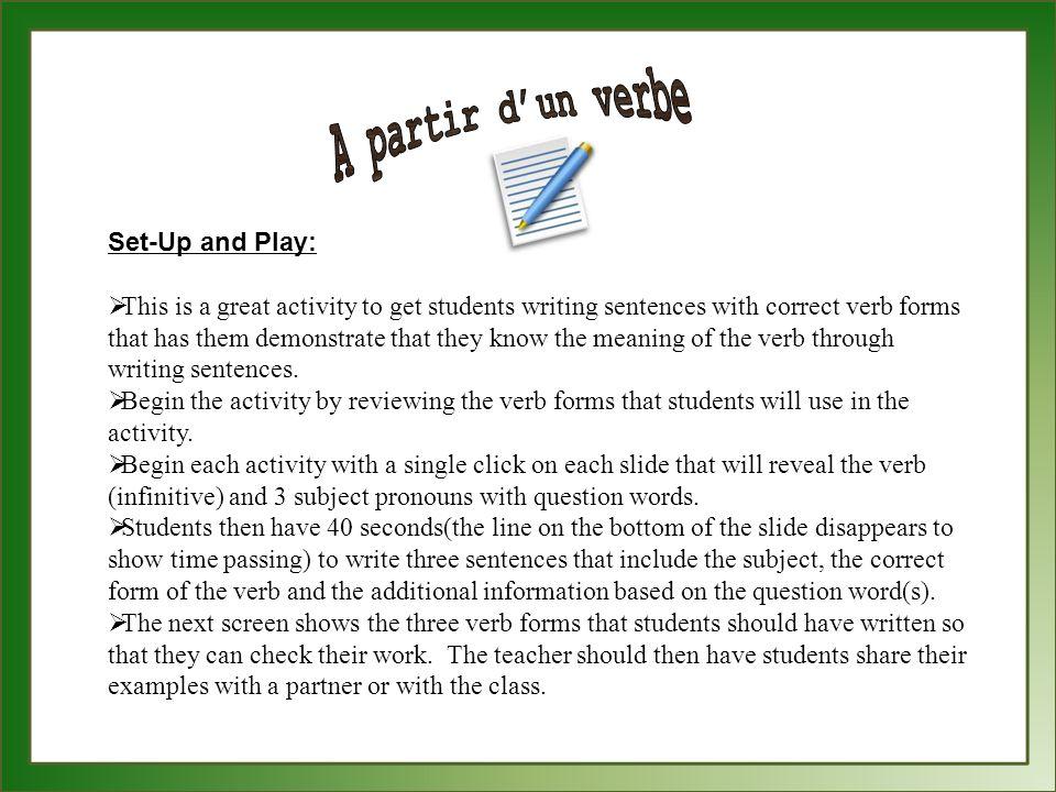 A partir d'un verbe Set-Up and Play: