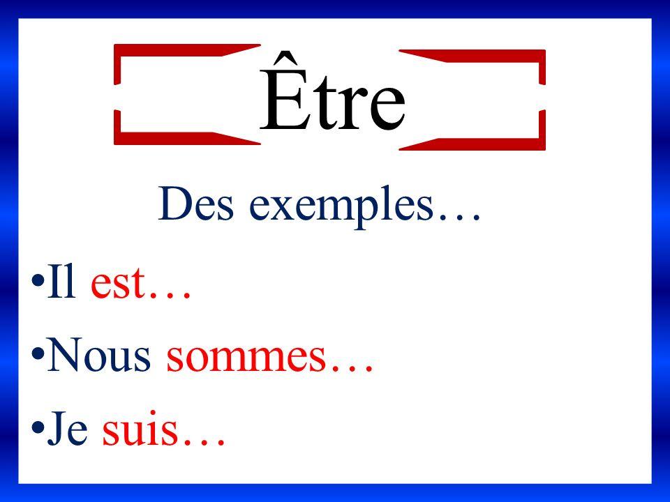 Être Des exemples… Il est… Nous sommes… Je suis…