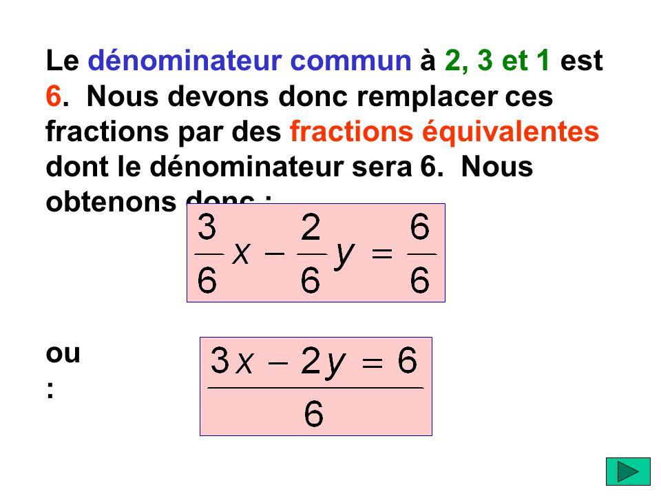 Le dénominateur commun à 2, 3 et 1 est 6