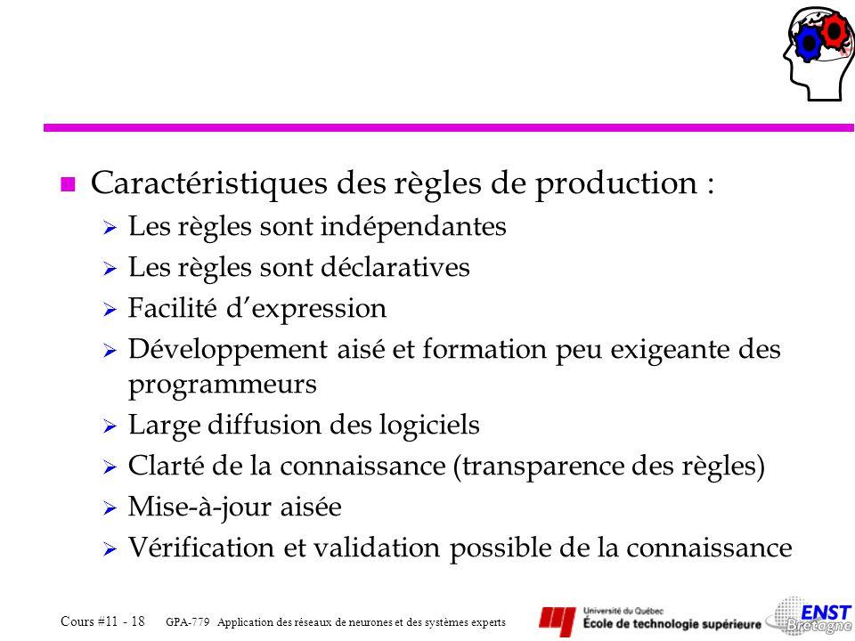 Caractéristiques des règles de production :