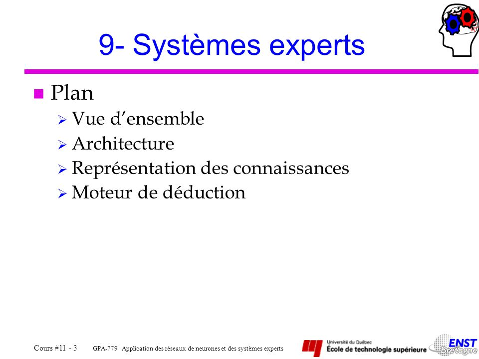 9- Systèmes experts Plan Vue d'ensemble Architecture