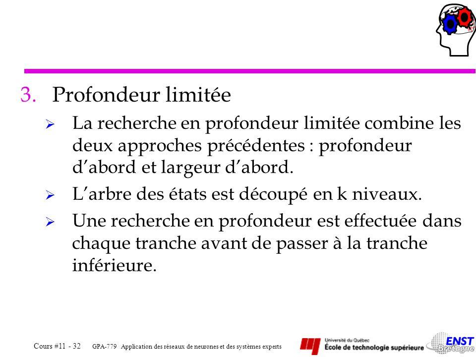 Profondeur limitée La recherche en profondeur limitée combine les deux approches précédentes : profondeur d'abord et largeur d'abord.