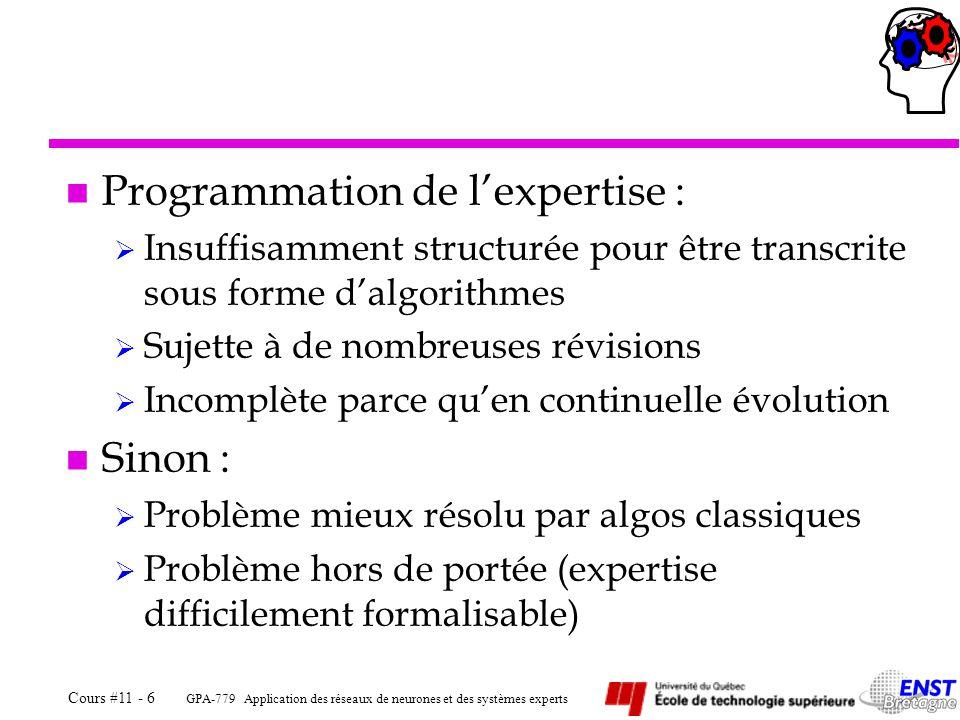 Programmation de l'expertise :