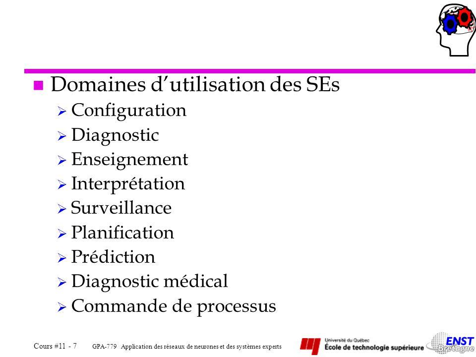 Domaines d'utilisation des SEs