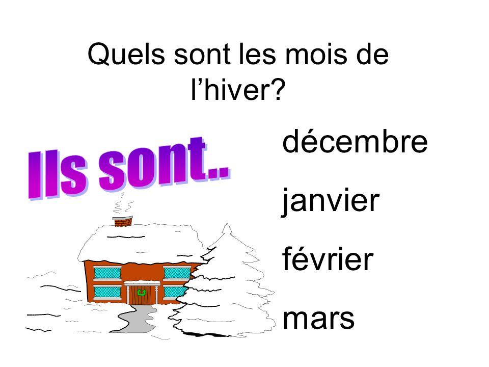 Quels sont les mois de l'hiver