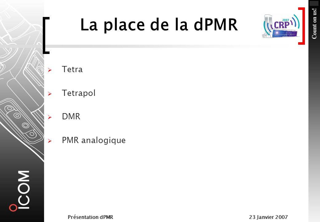 La place de la dPMR Tetra Tetrapol DMR PMR analogique