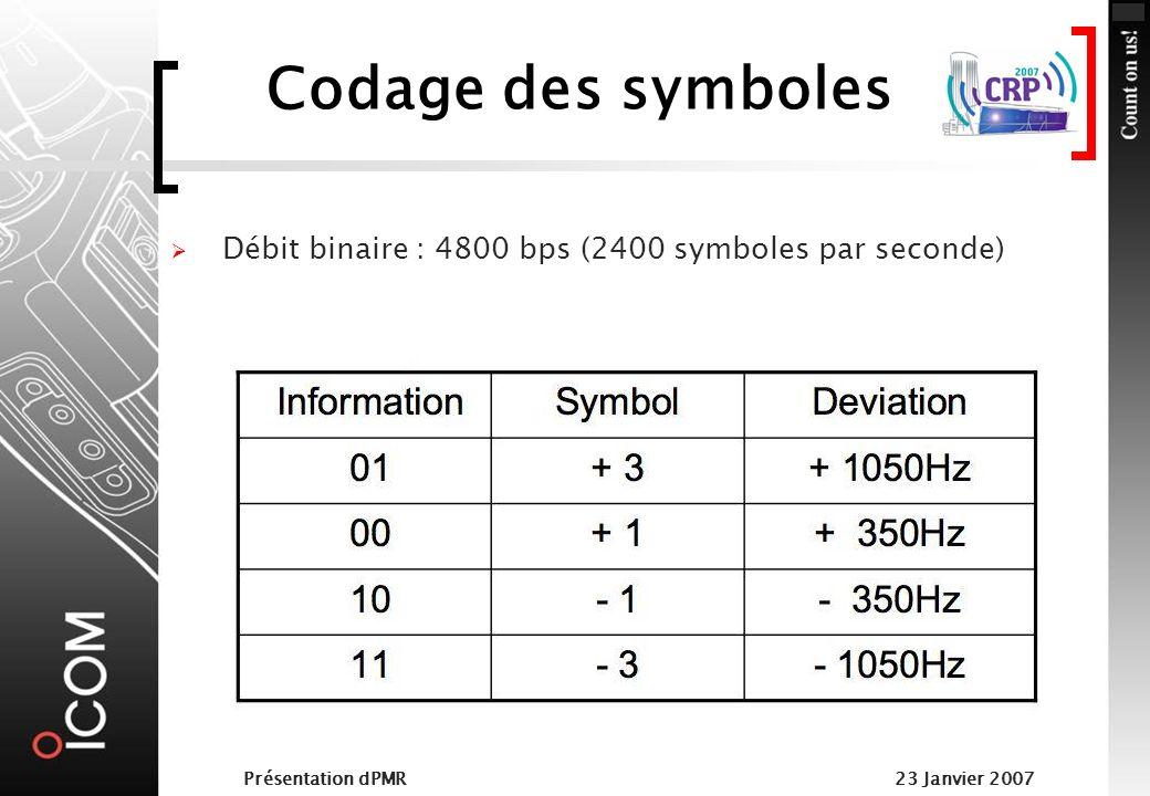 Codage des symboles Débit binaire : 4800 bps (2400 symboles par seconde) Présentation dPMR.