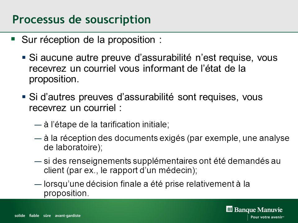 Processus de souscription