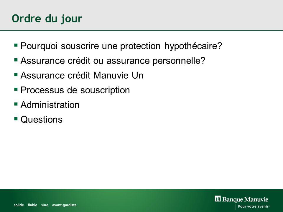 Ordre du jour Pourquoi souscrire une protection hypothécaire