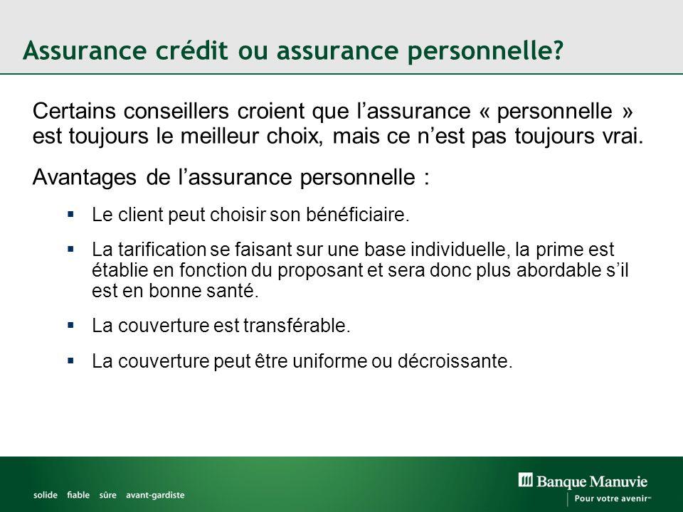 Assurance crédit ou assurance personnelle