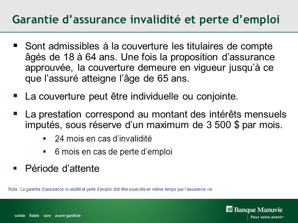 Garantie d'assurance invalidité et perte d'emploi