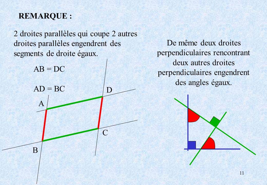 REMARQUE : 2 droites parallèles qui coupe 2 autres droites parallèles engendrent des segments de droite égaux.