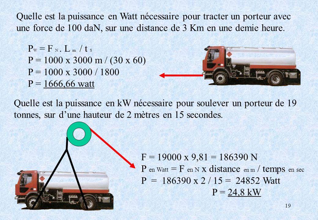 Quelle est la puissance en Watt nécessaire pour tracter un porteur avec une force de 100 daN, sur une distance de 3 Km en une demie heure.