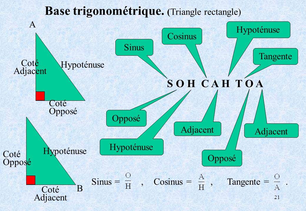 Base trigonométrique. (Triangle rectangle)