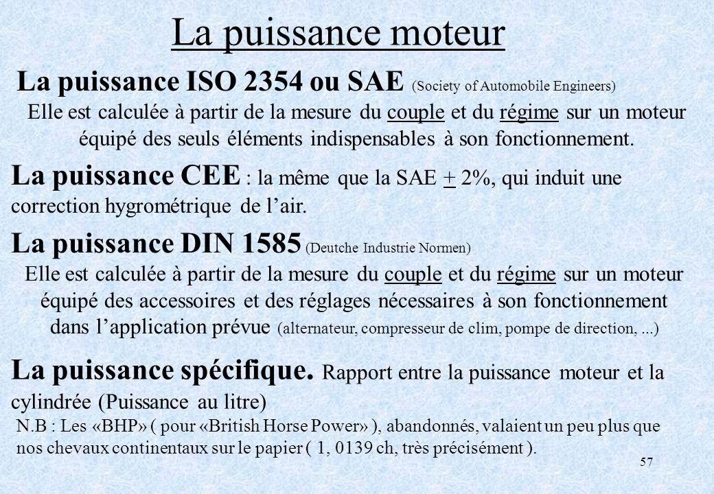 La puissance moteur La puissance ISO 2354 ou SAE (Society of Automobile Engineers)