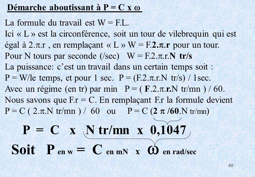 Soit P en w = C en mN x w en rad/sec