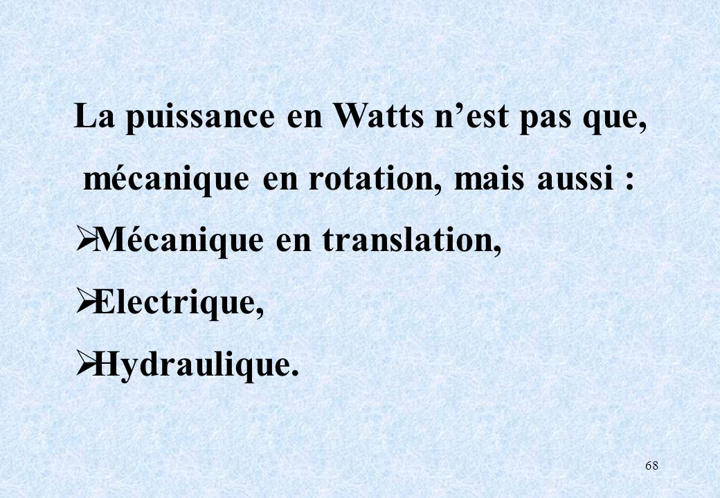 La puissance en Watts n'est pas que,
