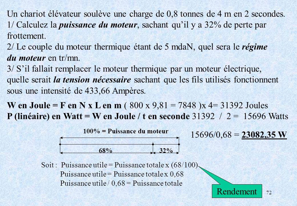 1/ Calculez la puissance du moteur, sachant qu'il y a 32% de perte par