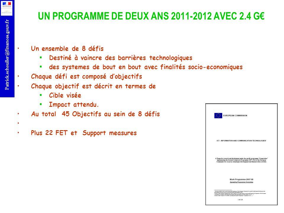 UN PROGRAMME DE DEUX ANS 2011-2012 AVEC 2.4 G€