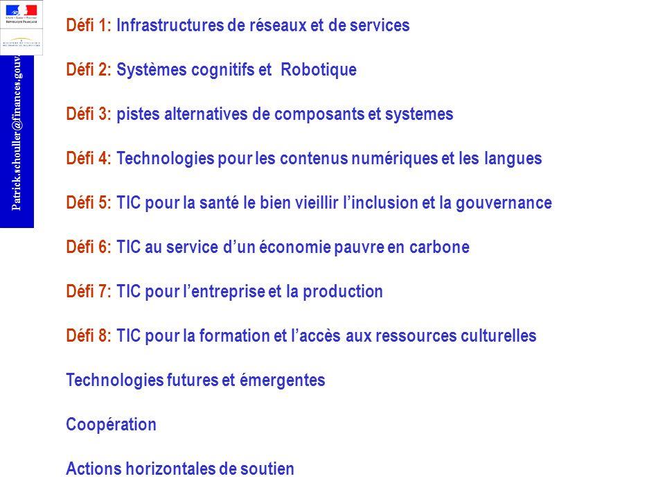 Défi 1: Infrastructures de réseaux et de services Défi 2: Systèmes cognitifs et Robotique Défi 3: pistes alternatives de composants et systemes Défi 4: Technologies pour les contenus numériques et les langues Défi 5: TIC pour la santé le bien vieillir l'inclusion et la gouvernance Défi 6: TIC au service d'un économie pauvre en carbone Défi 7: TIC pour l'entreprise et la production Défi 8: TIC pour la formation et l'accès aux ressources culturelles Technologies futures et émergentes Coopération Actions horizontales de soutien