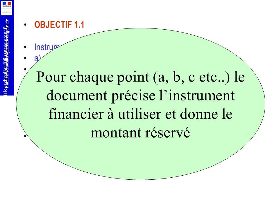 Pour chaque point (a, b, c etc..) le document précise l'instrument