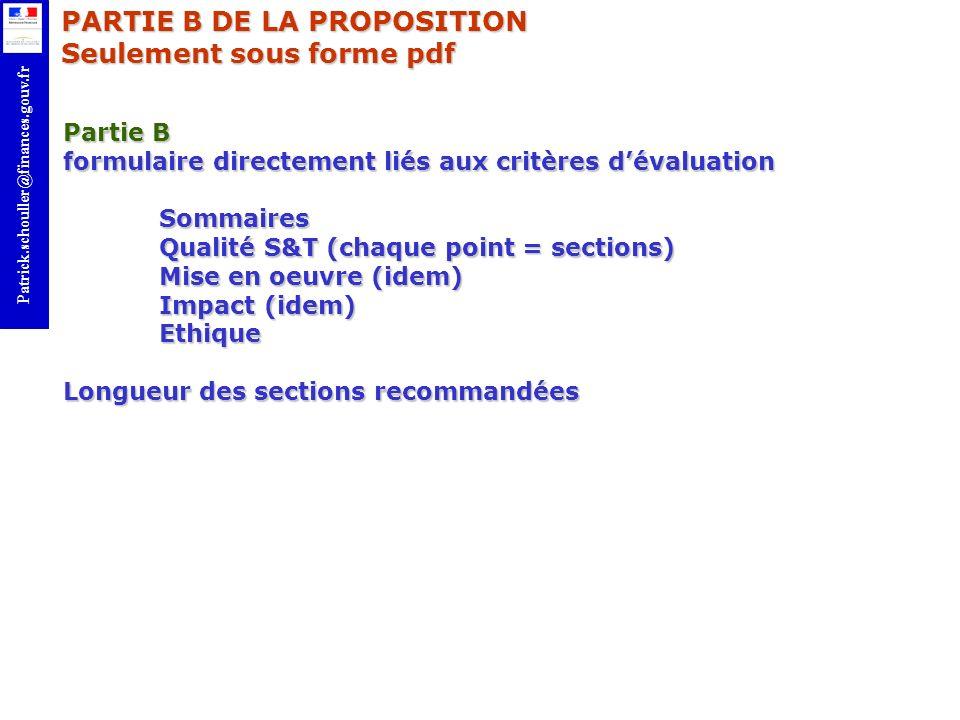 PARTIE B DE LA PROPOSITION Seulement sous forme pdf
