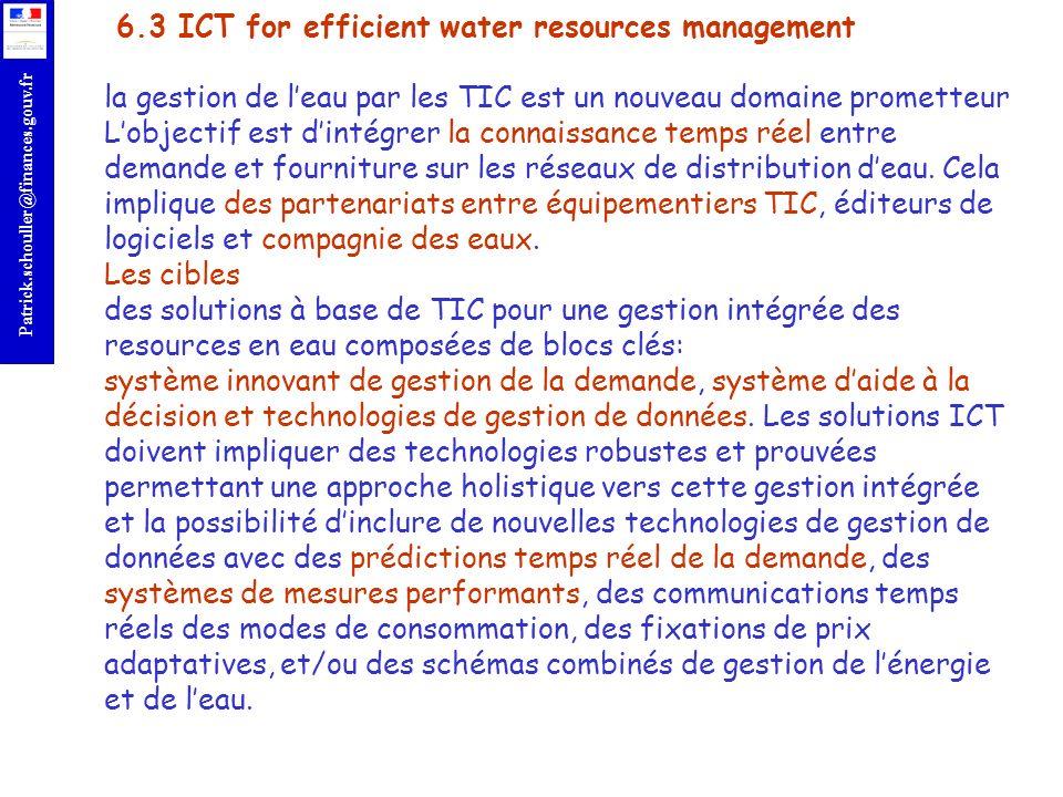 6.3 ICT for efficient water resources management la gestion de l'eau par les TIC est un nouveau domaine prometteur L'objectif est d'intégrer la connaissance temps réel entre demande et fourniture sur les réseaux de distribution d'eau.