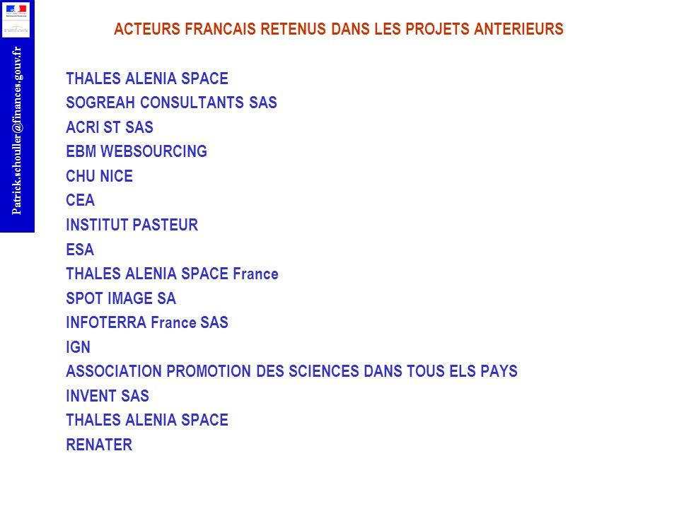 ACTEURS FRANCAIS RETENUS DANS LES PROJETS ANTERIEURS