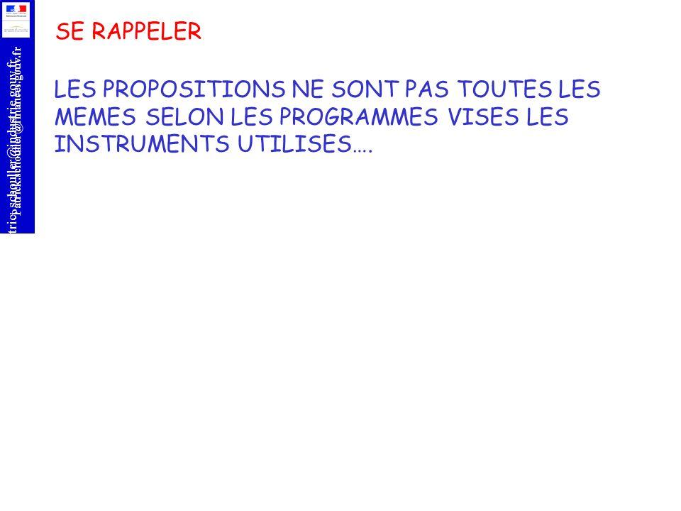 SE RAPPELER LES PROPOSITIONS NE SONT PAS TOUTES LES MEMES SELON LES PROGRAMMES VISES LES INSTRUMENTS UTILISES….