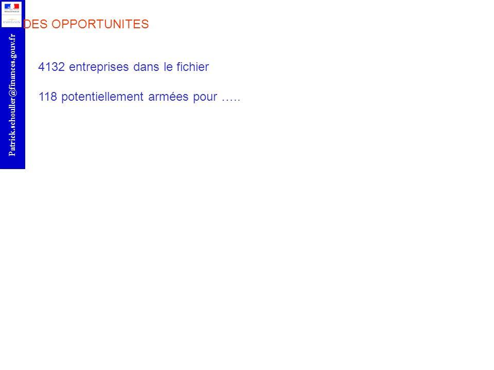 DES OPPORTUNITES 4132 entreprises dans le fichier 118 potentiellement armées pour …..