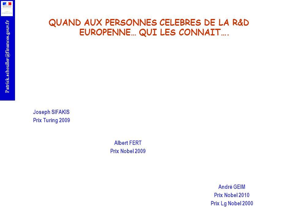 QUAND AUX PERSONNES CELEBRES DE LA R&D EUROPENNE… QUI LES CONNAIT….