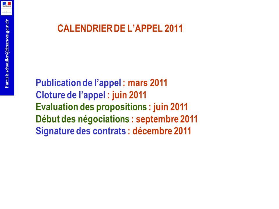 CALENDRIER DE L'APPEL 2011