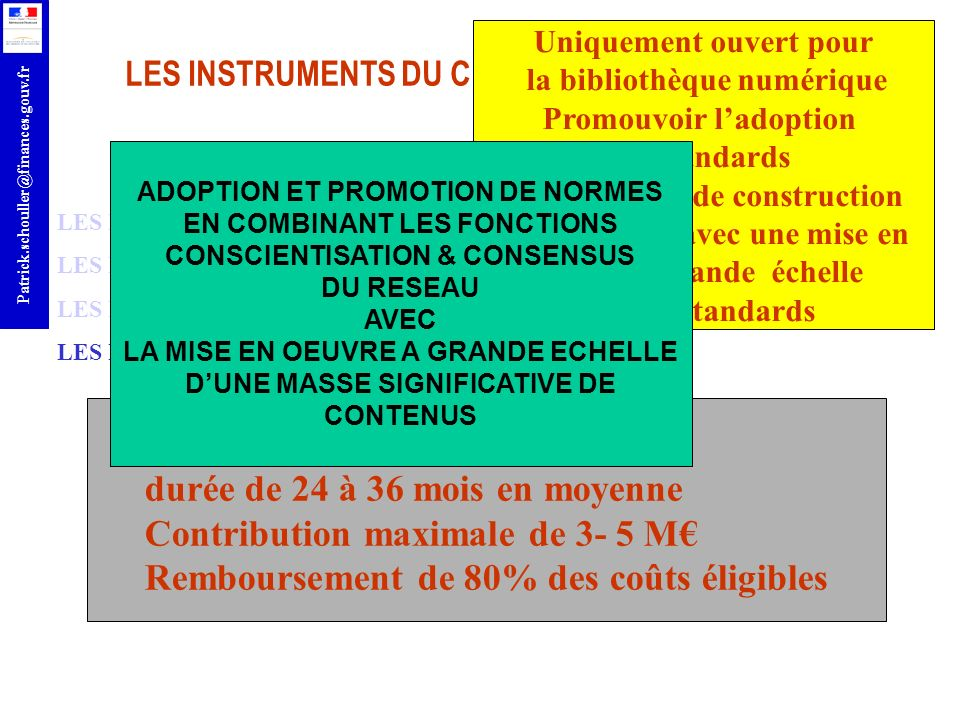 durée de 24 à 36 mois en moyenne Contribution maximale de 3- 5 M€