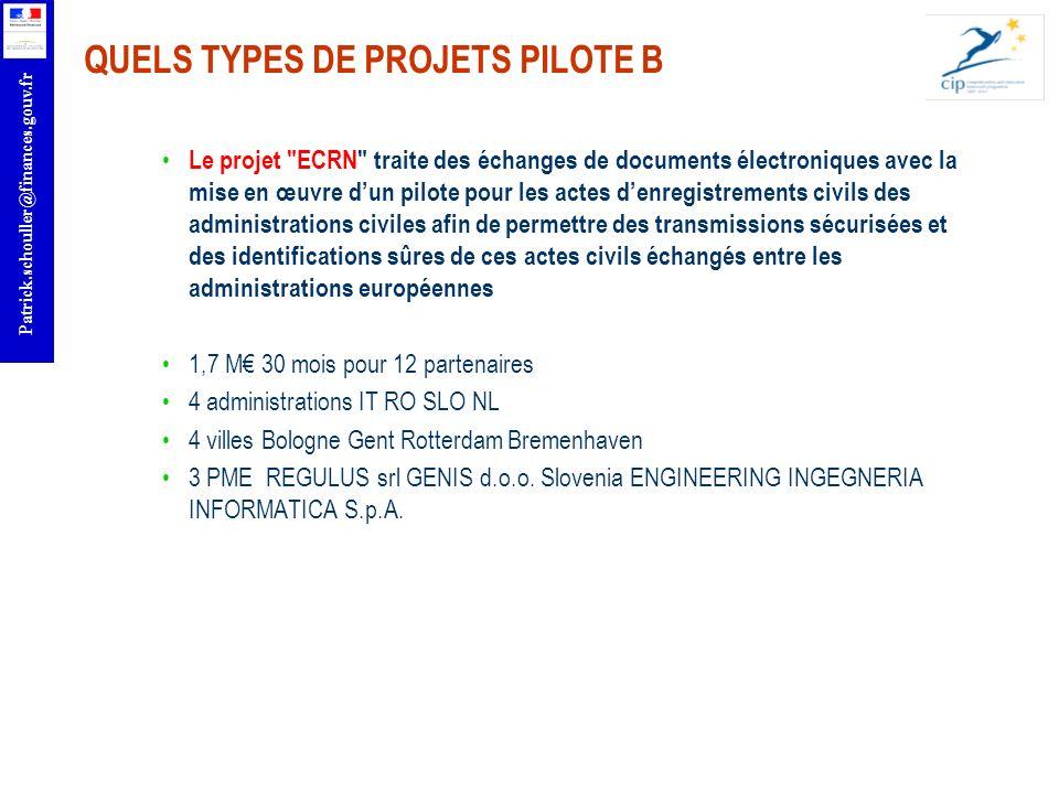QUELS TYPES DE PROJETS PILOTE B
