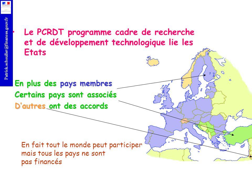 Le PCRDT programme cadre de recherche et de développement technologique lie les Etats